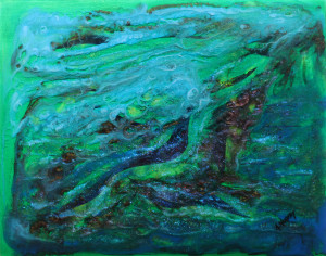 """""""Iceland on my Mind"""" Mixed Media on Wood Cradle - Original by Amy Nordby"""