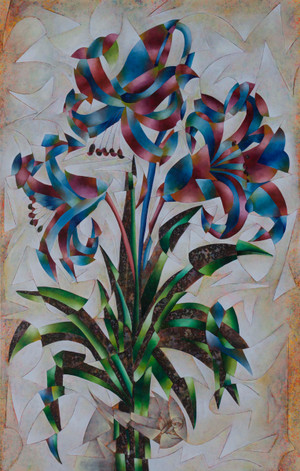 """Lirios (Lilies)"" Mixed Media on Canvas - Original by Benjamín Hierro"