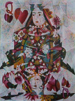 """Reina de Corazones Rojos (Queen of Red Hearts)"" Mixed Media on Canvas"