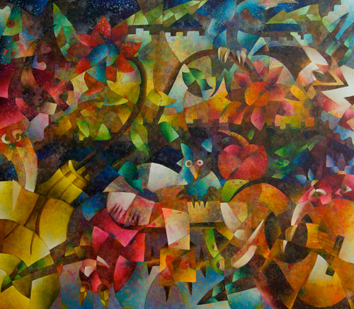 """Floresta (Forest)"" Mixed Media on Canvas - Original by Benjamín Hierro"