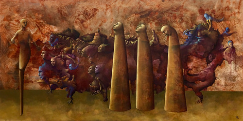 """""""Corralled"""" Oil on Canvas - Original by Angela Alés"""
