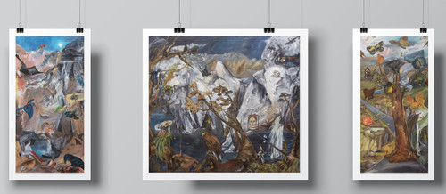"""Triptych Bundle of """"Responsibility is a Triumphant Tool"""", """"Omnivore's Natural History"""" and """"Irresponsibility"""" Set of Limited-Edition Hand-Signed Fine Art Print by Beatrix Ost"""