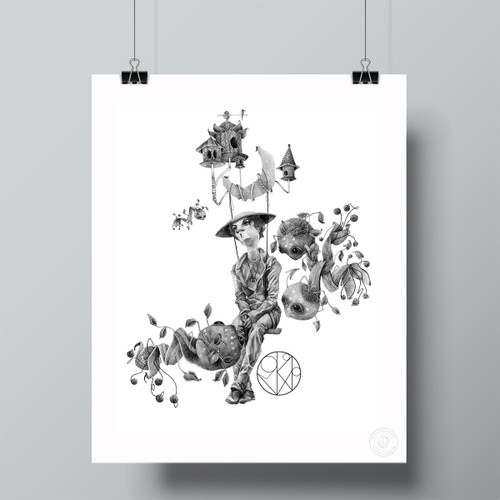 """Funeral Guest .4, Dragon Caretaker BW"" Limited Edition Fine Art Print by Renata Santamarina"