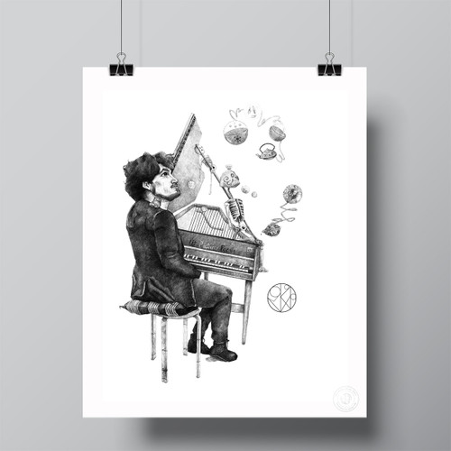 """Funeral Guest .10, Tea Composer BW"" Limited Edition Fine Art Print by Renata Santamarina"