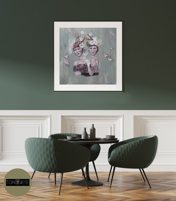 """""""Siamese"""" Limited-Edition Fine Art Print by Renata Santamarina - Shown Framed (Frame NOT Included)"""