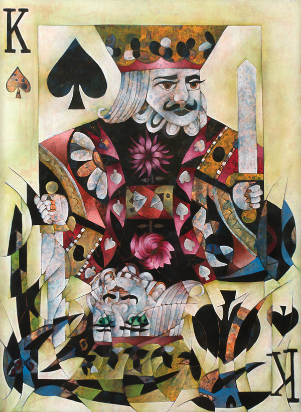 """Rey de Picas (King of Spades)"" Mixed Media on Canvas - Original by Benjamín Hierro"