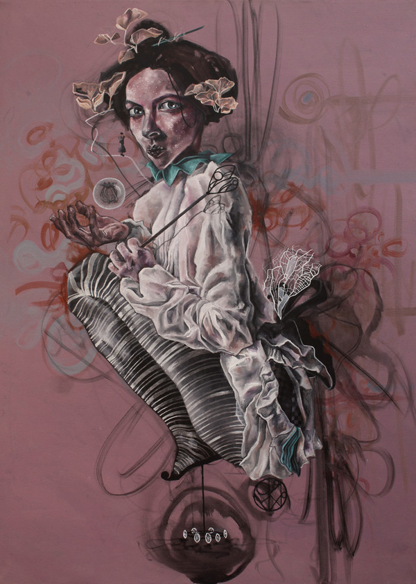 """La Reina Loca (The Crazy Queen)"", Original Oil on Canvas by Renata Santamarina"