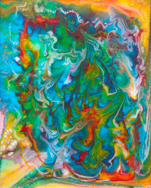 """Kiss of Color"" Acrylic & Resin on Pebeo Board - Original by Amy Nordby"