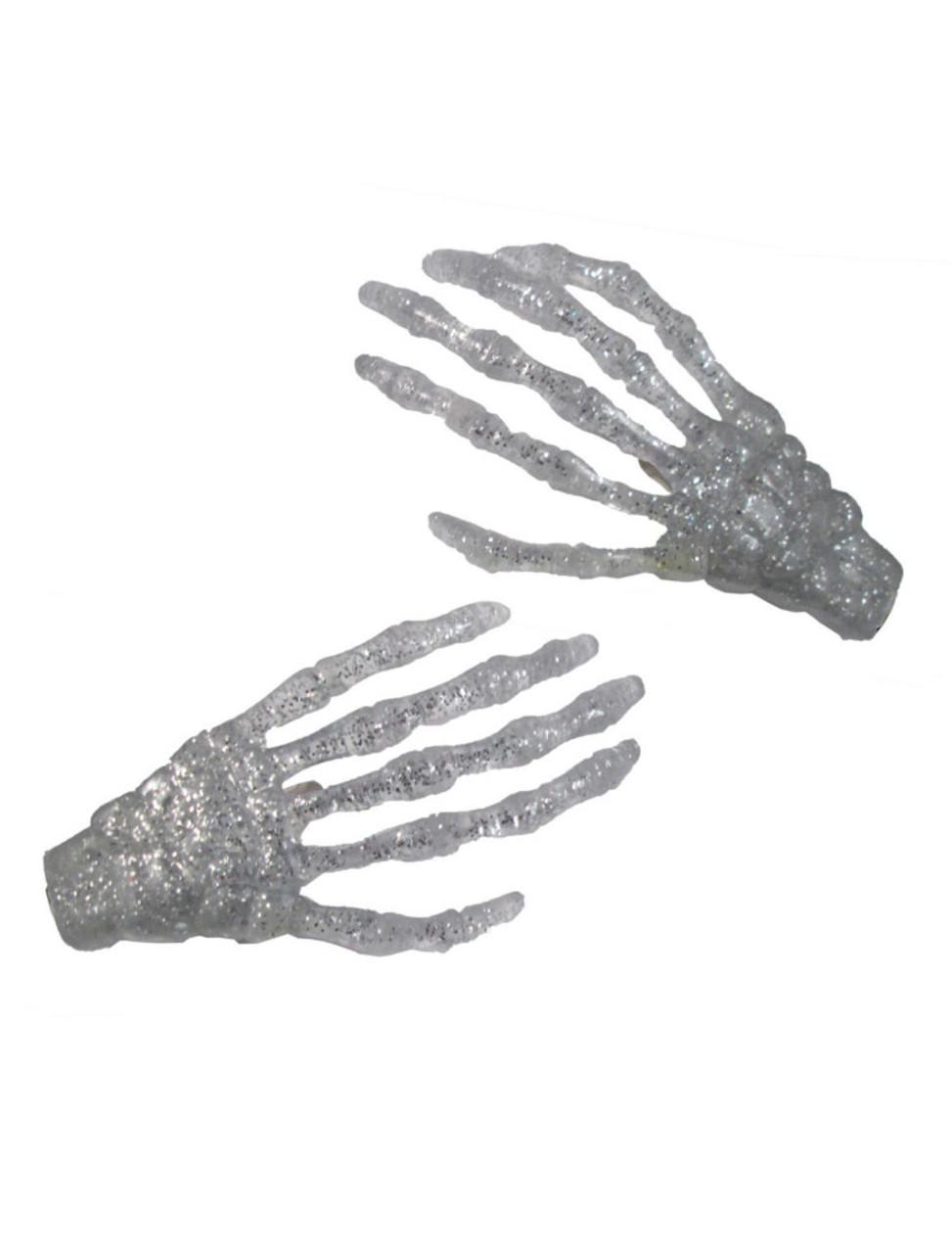 White Skeleton Hands Necklace Halloween Horror Jewelry Kreepsville