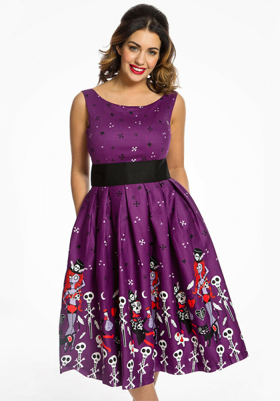 391dd10349632 Lindy Bop Lana Purple Witch Doctor Party Dress - Suicide Glam Australia