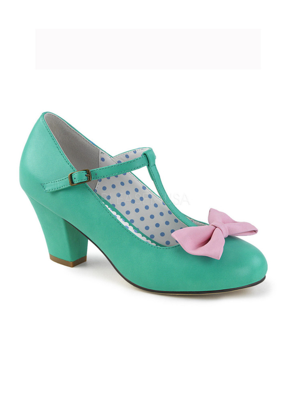 a682771cb13 Pin Up Couture Wiggle 50 Teal and Pink Bow Heels