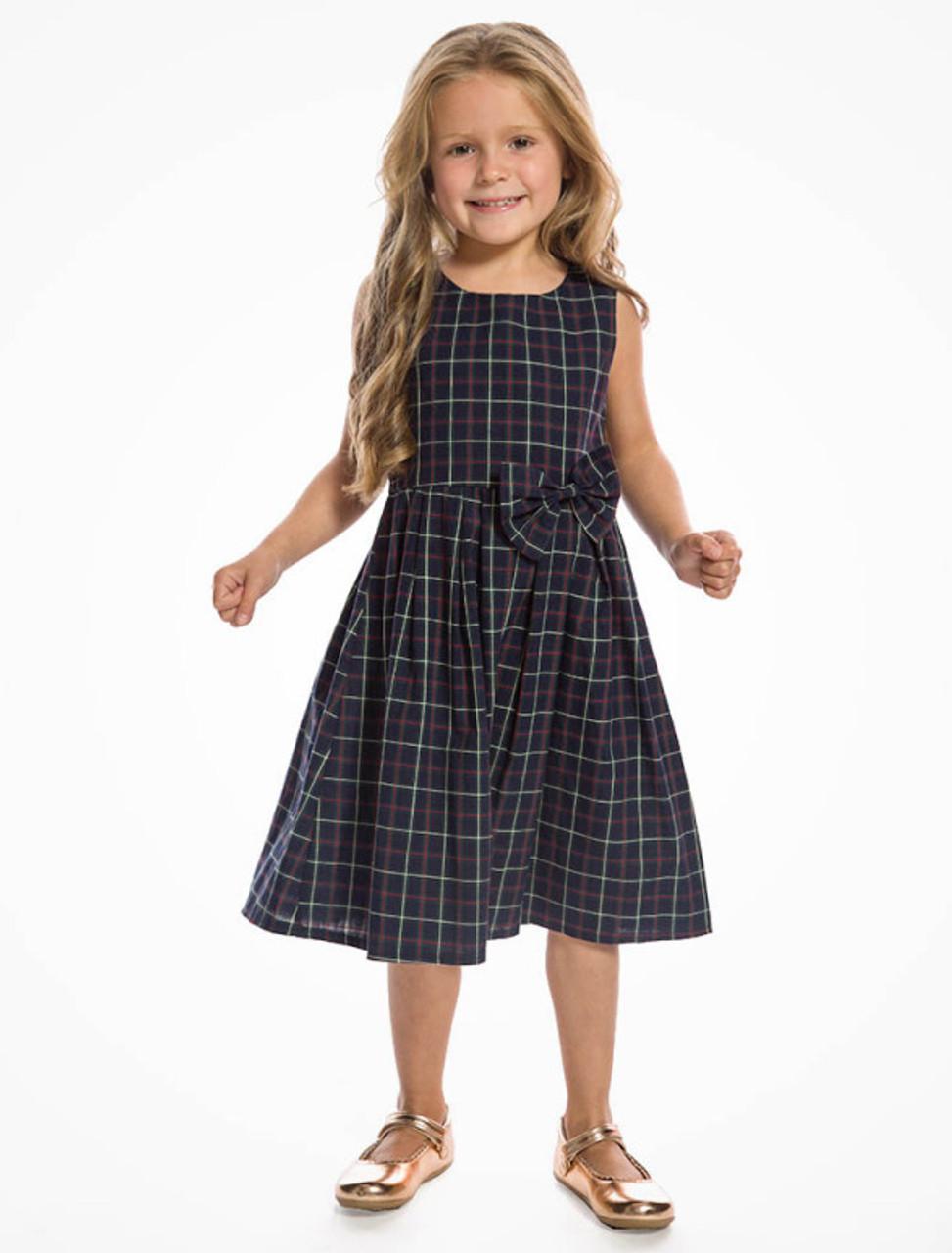 cdfdc2222d999 Lindy Bop Mini Grace Children's Navy Check Print Swing Dress ...