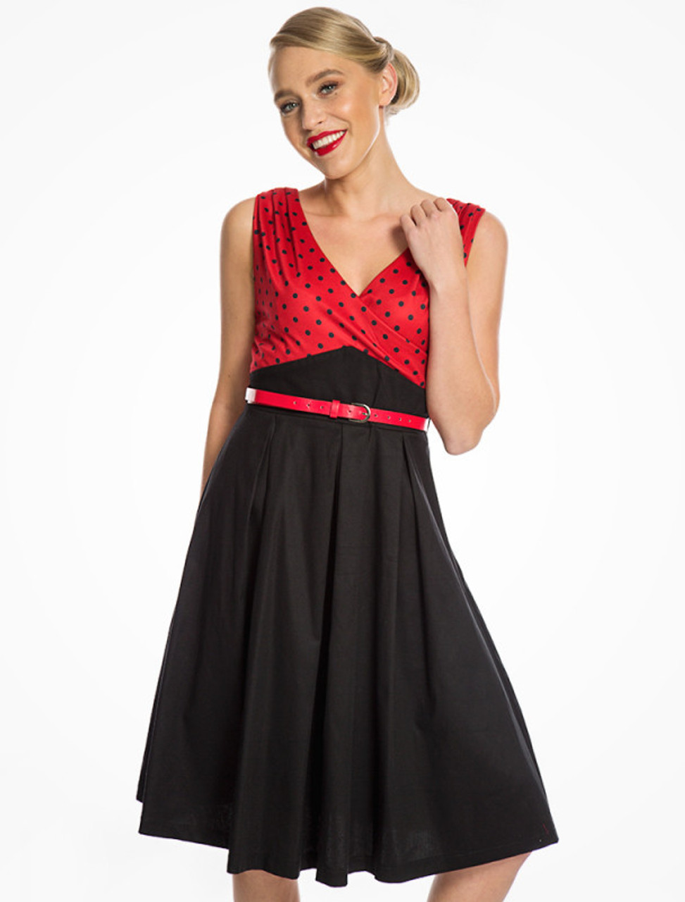2dc27c6a0539 Lindy Bop Valerie Red and Black Polka Dot Swing Dress - Suicide Glam ...