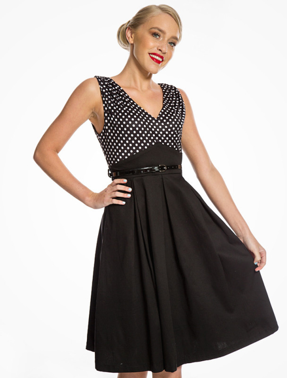 406e5c6e36f6 Lindy Bop Valerie Black and White Polka Dot Swing Dress - Suicide ...