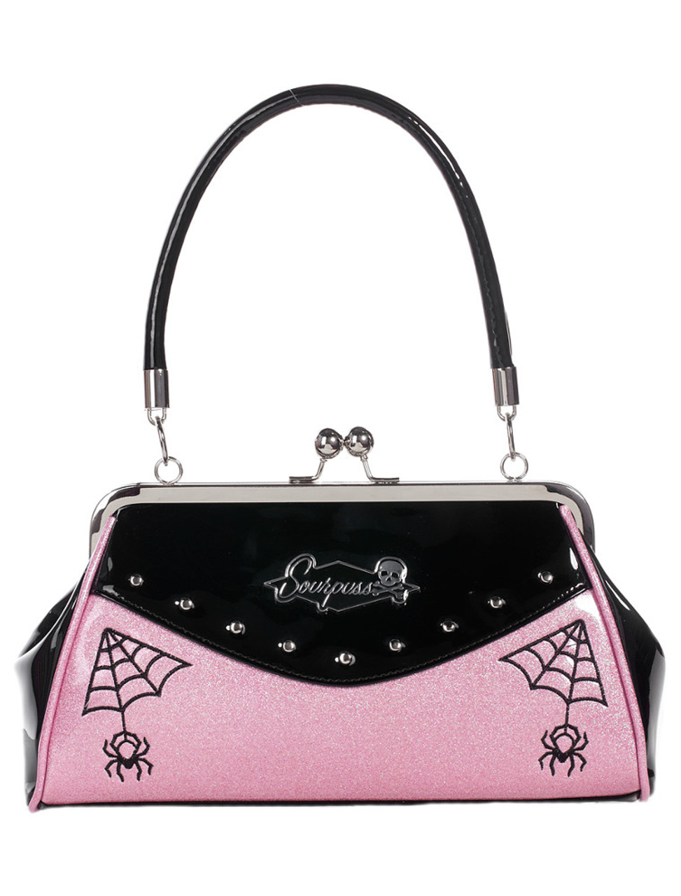 e0cf67f7c228 Sourpuss Webbed Widow Handbag: Black and Pink
