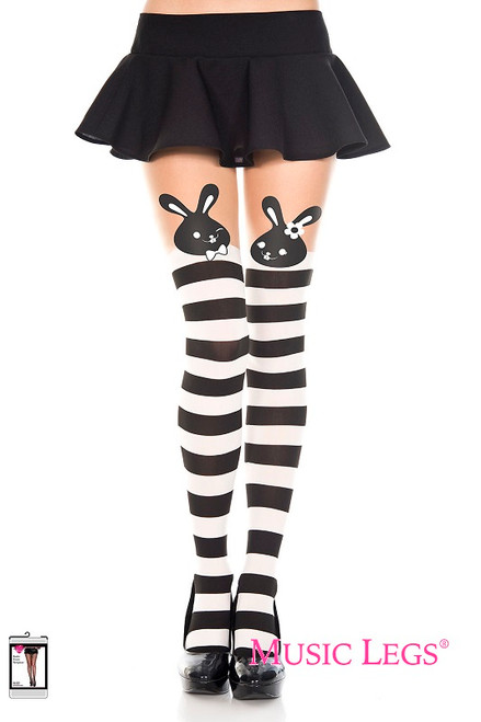 bdbb632443e6e Music Legs Hosiery Spandex Bunny Print Striped Faux Thigh High Pantyhose