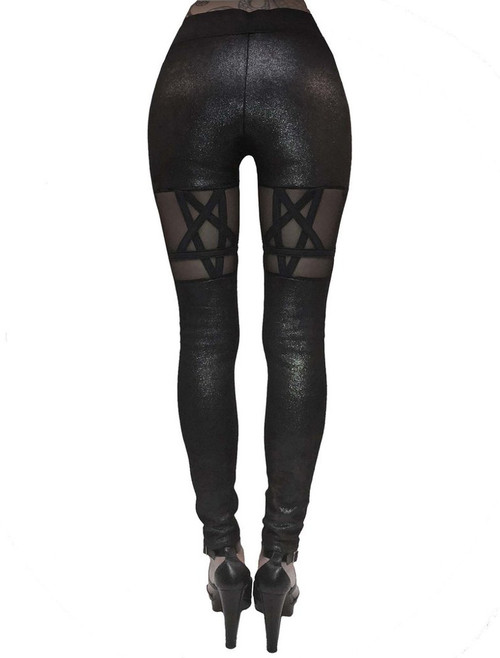 fcece4b1a0443 ... Rat Baby Queen Of The Damned Black Glitter Pentagram Legging Pants ...
