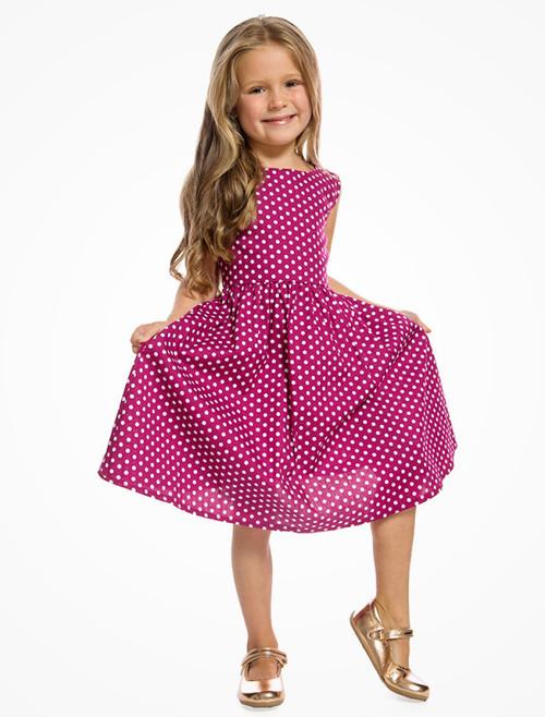 bd38f4b1b Lindy Bop Mini Audrey Children's Cerise Polka Dot Print Swing Dress