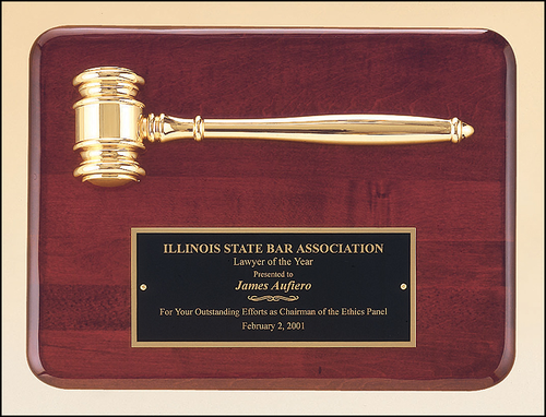 Rosewood Piano Plaque w/ Gold Gavel