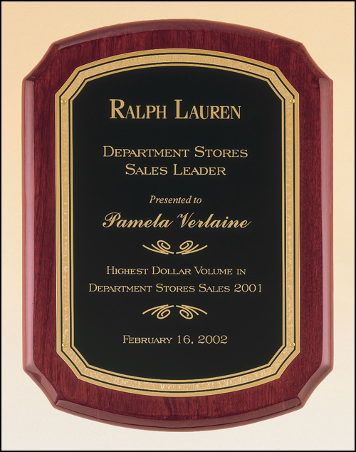Rosewood Piano Notched Round Plaque, Gold Florentine Plate