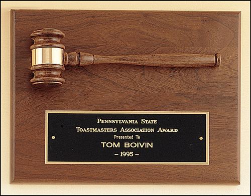 Walnut Plaque w/ Gavel
