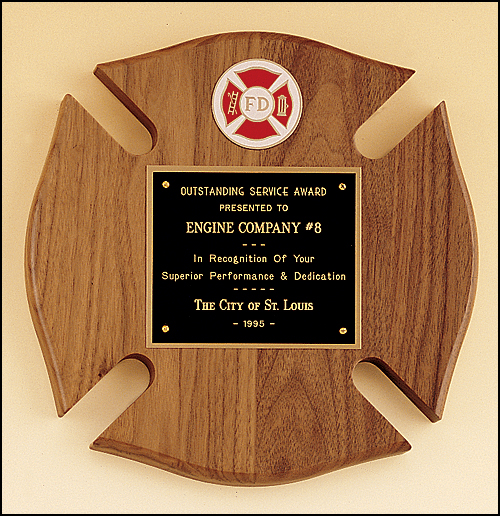 Walnut Maltese Cross Fireman Plaque