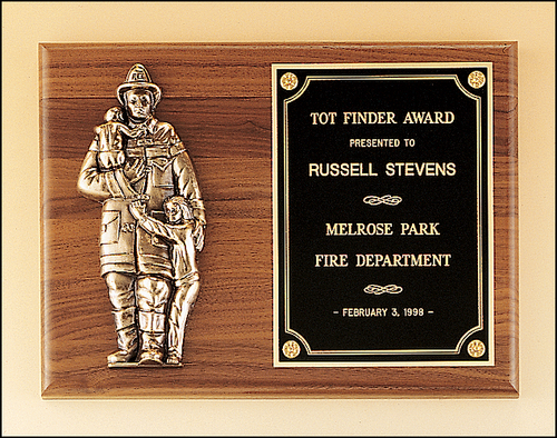 Walnut Plaque, Bronze Fireman Casting