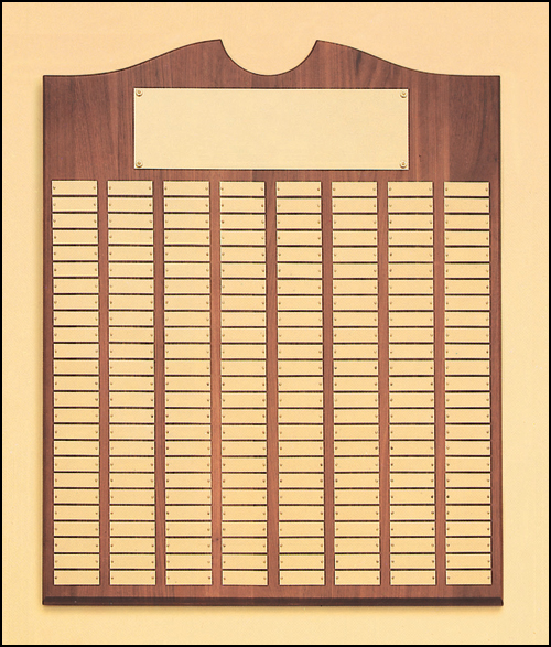 Walnut Roster Series Perpetual Plaque, Brushed Brass plates