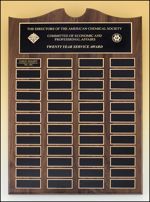 Walnut Roster Series Perpetual Plaque, Black Brass plates