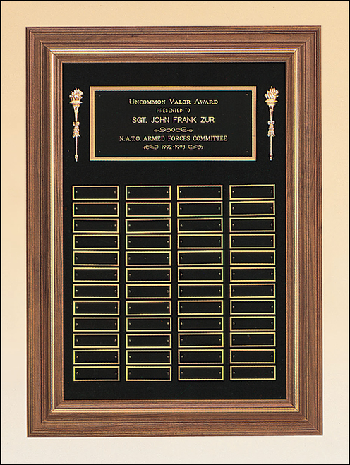 Walnut Frame w/ Gold Border Perpetual Plaque (2)