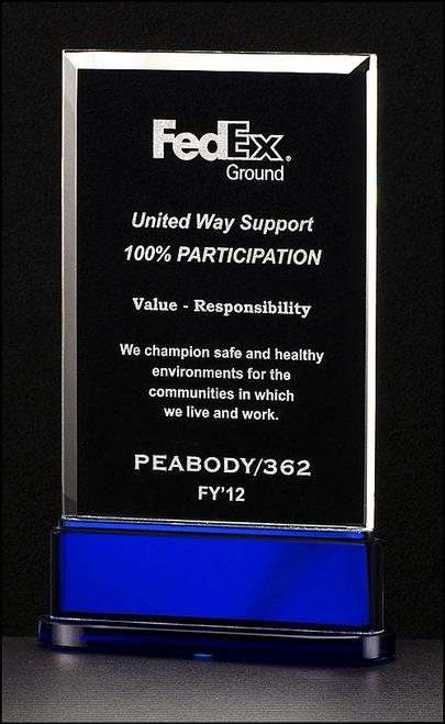 Premium Series Glass Award on Blue Base
