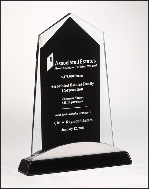 Apex Series Glass Award, Black & Silver Base