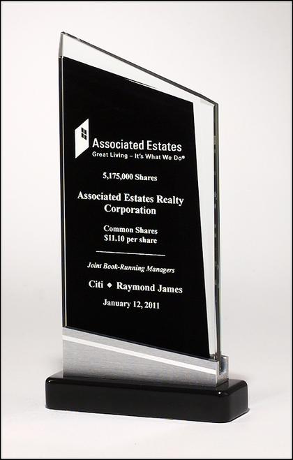 Zenith Series Glass Award, Black & Silver Base