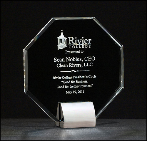 Octagon Series Crystal Award, Silver Base