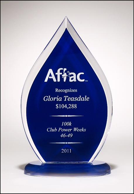 Flame Series Acrylic Award on Base, Blue