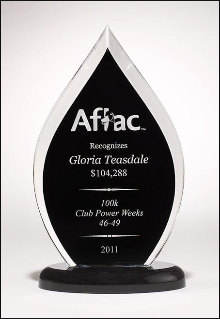 Flame Series Acrylic Award on Base, Black
