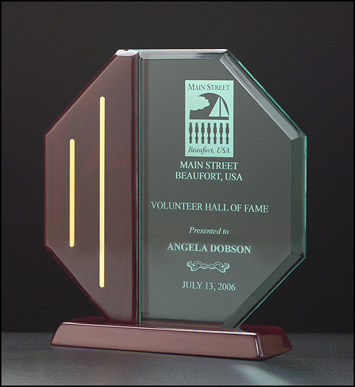 Octagon Series Acrylic Award, Rosewood Base