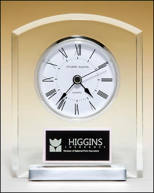 Acrylic Desk Clock w/ Silver Base