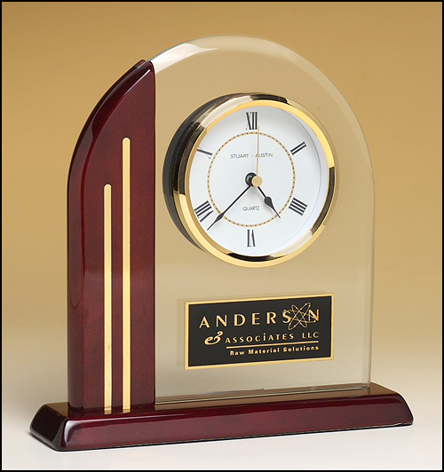 Arch Mantle Clock w/ Rosewood Base