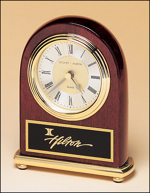 Rosewood Piano Desk Clock on Brass Base