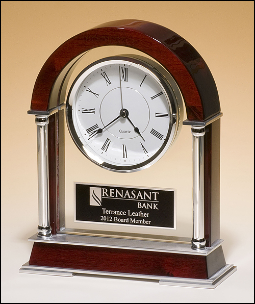 Mantle Clock w/ Rosewood & Silver Accent