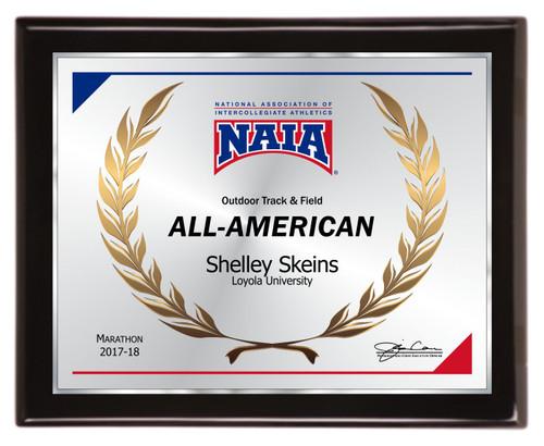 All-American piano finish plaque  - NAIA-AA1013