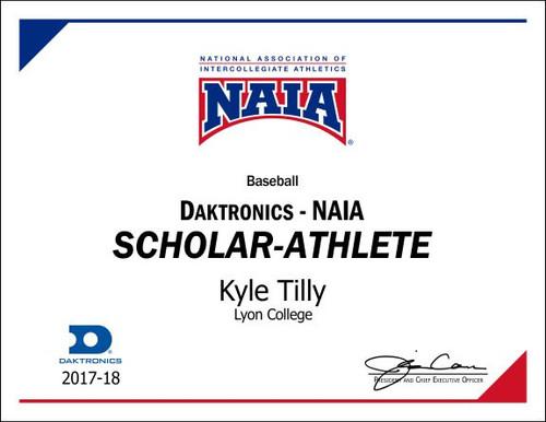 Scholar-Athlete certificate