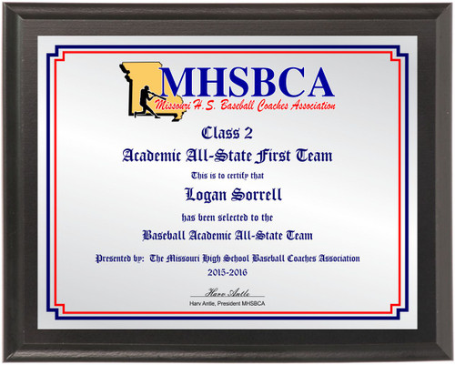 MHSBCA Academic All-State plaque