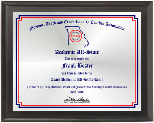 Missouri Track & Cross Country Coaches Assoc Academic All-State plaque