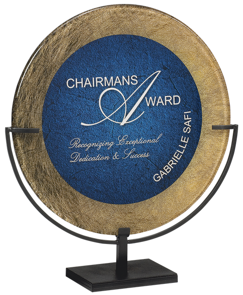 Gold & Blue Round Acrylic With Iron Stand