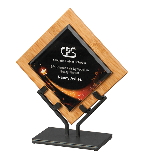 Star Galaxy Acrylic & Bamboo Plaque With Iron Stand