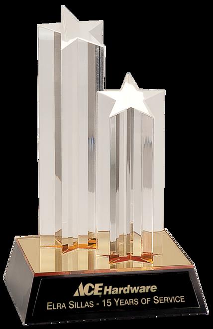 Gold Double Star Column Acrylic