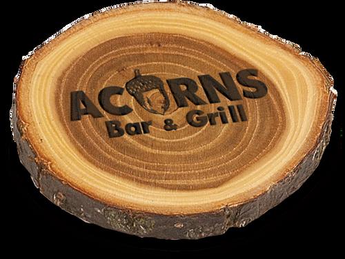 """Diameter Genuine Wood """"Old West"""" Log Coaster 4"""""""