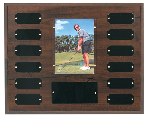 "Cherry Finish Perpetual Plaque with 3 1/2"" x 5"" Photo Holder"